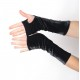Long fingerless gloves in soft black velvet
