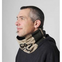 Men's cowl scarf, upcycled Linen Mail bag with Numbers Script