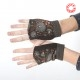 Brown floral babycord fingerless gauntlets