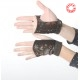 Brown floral babycord fingerless gauntlets