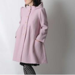 Manteau hiver long trapèze, laine rose poudré, capuche ronde