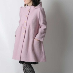 Powder pink wool winter coat with round hood, wool and velvet