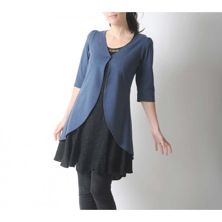 Long stone blue jersey swallowtail jacket