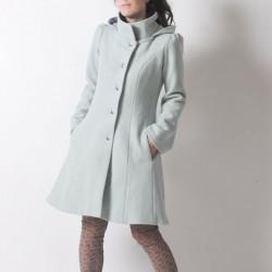 Manteau d'hiver à Capuche de Lutin en laine vert pastel
