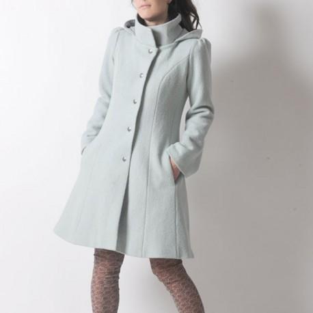 Manteau d'hiver made in france à Capuche de Lutin en laine vert pastel