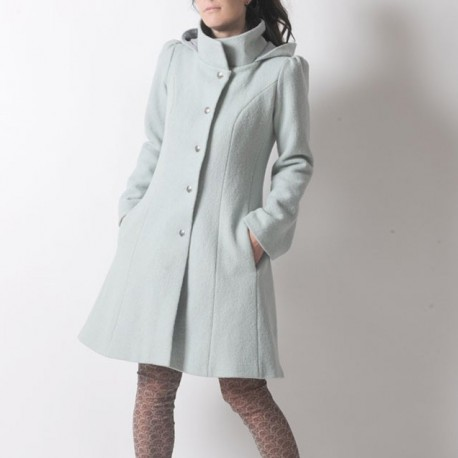 Mint green winter Pixie coat with Goblin Hood in virgin wool