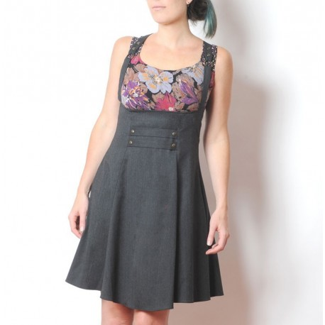 High waisted dark grey skirt with suspenders - dry wool