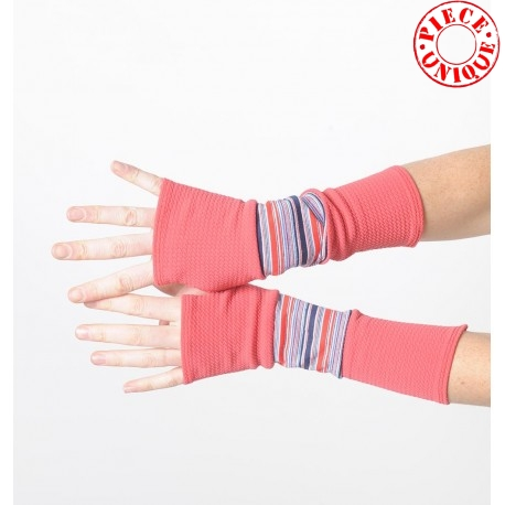 Long armwarmers, patchwork of coral red jersey and vintage stripes