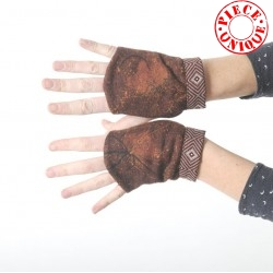 Brown floral fingerless gauntlets