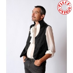 Black mens waistcoat with leather details and High collar