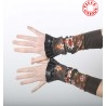 Stretchy brown and colorful patchwork jersey cuffs with ruffles