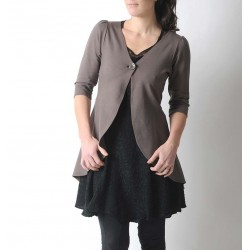 Long taupe brown jersey swallowtail jacket
