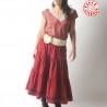 Bandeau ou ceinture large soie avec Fleur, couleur beige rosé, mariage