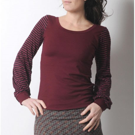 Crimson red top with long striped sleeves
