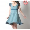 Blue-grey flared and ruffled cotton jersey dress with crossed back