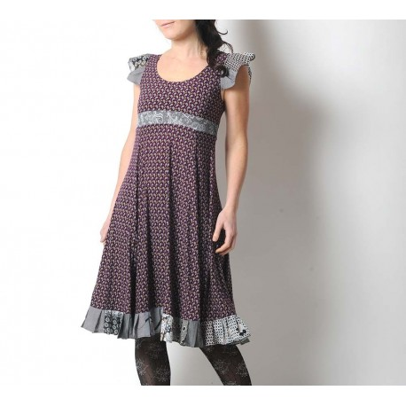 Purple and grey flared and ruffled patterned dress with crossed back