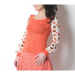 Orange and white top with vintage flowers, long puffy sleeves