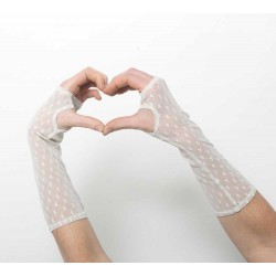 Mitaines longues en résille crème motifs coeurs