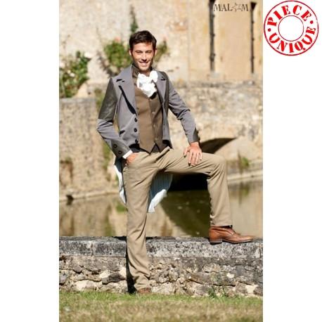 Jaquette homme mariage, gris et détails cuir idée cadeau pour homme