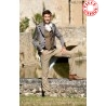 Wool and leather mens swallowtail grey jacket