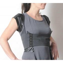 Bustier sous poitrine made in france gris rayé, laçage dos