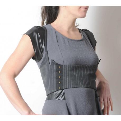 Grey striped designer underbust belt