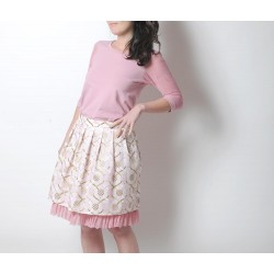 Jupe courte plissée blanche, rose et beige doré