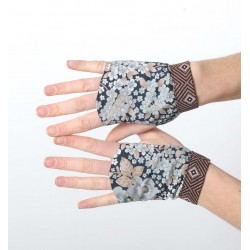 Grey and brown floral fingerless gauntlets