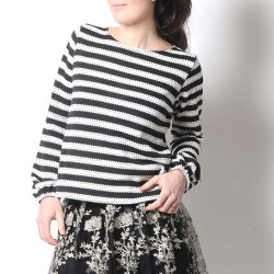 Black and white striped sweater with puffy sleeves