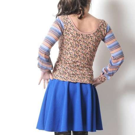 Floral and striped women's tee with long puffy sleeves