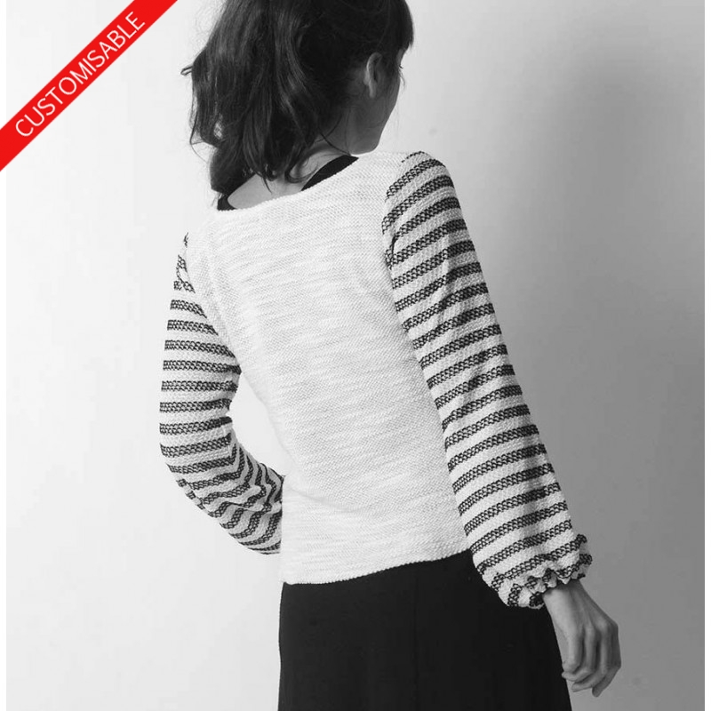 b42cf28d7a25b Custom womens sweater with puffy sleeves, handmade in France