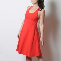 Bright red summer flared cotton jersey dress with crossed straps