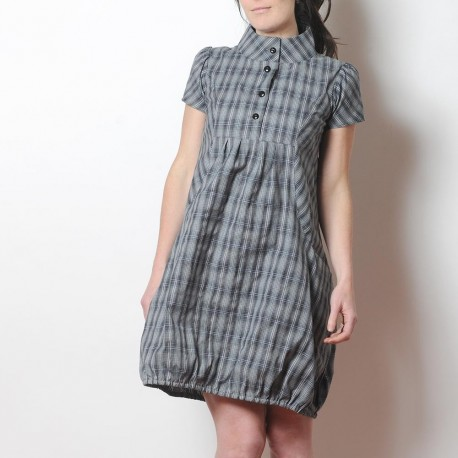 Grey checkered cotton short-sleeved bubble dress