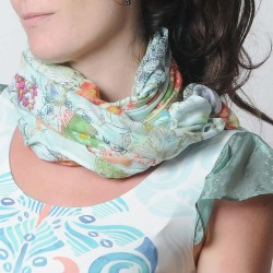 Green and white lightweight cotton scarf, flowers and butterflies