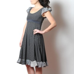 Black and grey short-sleeved long dress with ruffles, paisley print