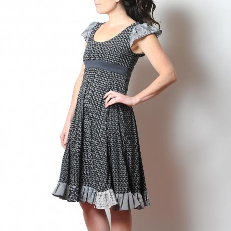 Black and grey short-sleeved summer dress with ruffles, paisley print