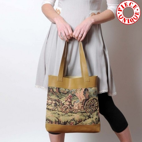 Beige leather shopping tote bag with vintage horse and wheels tapestry