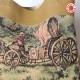 Sac shopping cabas, cuir beige et tapisserie carosse et chevaux