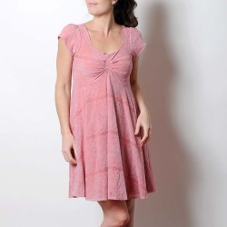 Pink short-sleeved lace dress with pleated neckline