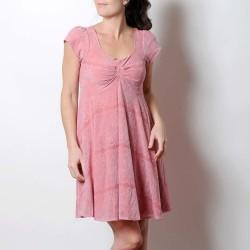 Robe rose en jersey et dentelle, décolleté plissé, manches courtes