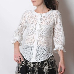 White lace women's shirt with ruffled sleeves