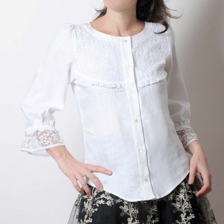 White linen and raised lace women's shirt with ruffled sleeves