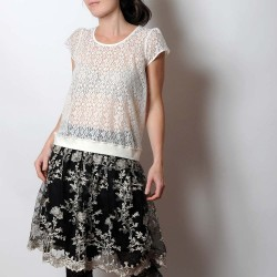 Sheer off-white lace sweater, short sleeves