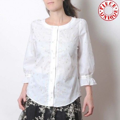 White women's shirt with ruffled sleeves, thin embroidered cotton