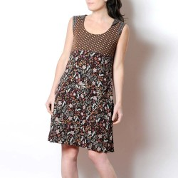 Brown sleeveless dress, dots and flowers, with pointy collar at back