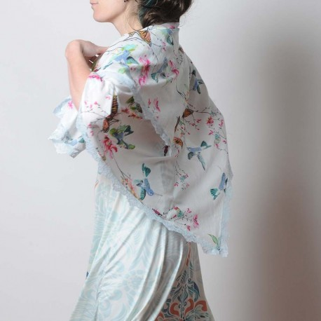 Foulard fleurs et papillons blanc accessoire original femme fabrication française