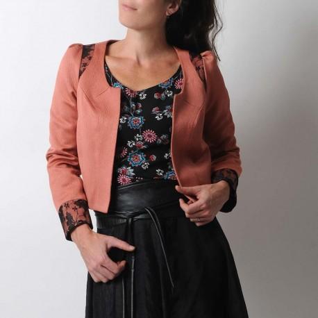 Short bolero jacket in dusty pink and black lace