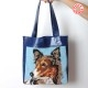 Bright blue varnished leather and dog portrait canvas shopping tote bag