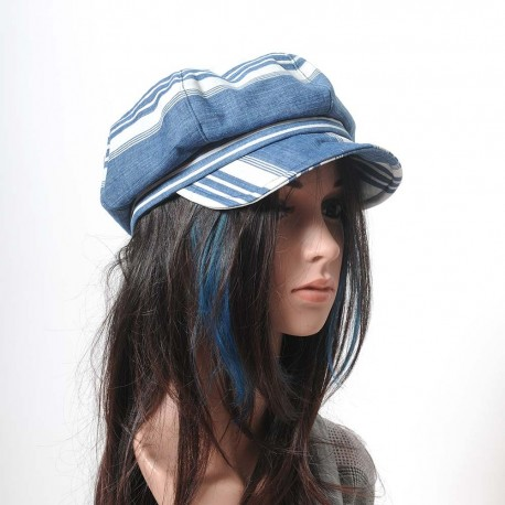 Blue and white striped newsboy cap hat