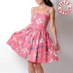 Robe coton rose motifs papillons, bretelles ou petites manches